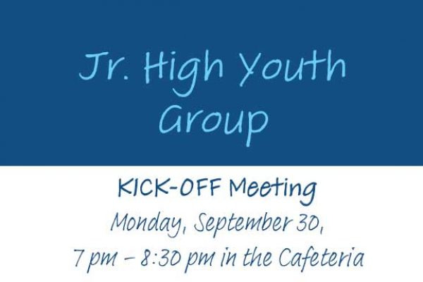 Junior High Youth Group Kick-Off